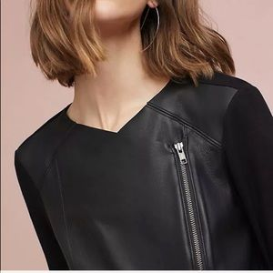 Michael Stars Shawl Collar Leather Zip Up Jacket
